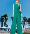 Maxi jumpsuit with asymmetric neckline in green