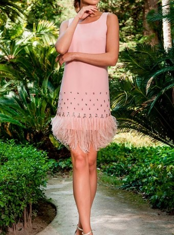 Fringed Olimara dress in pink