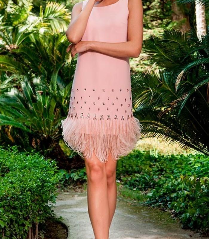 Vestido olimara rosa de flecos