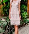 Olimara pink plumeti dress with ruffles