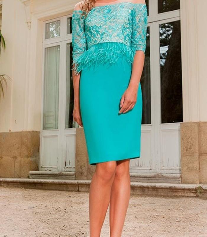 Olimara fringed aqua green dress