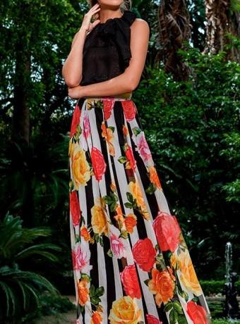 Falda larga rayas y flores Olimara