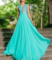 Long dress with deep neckline and lace Olimara