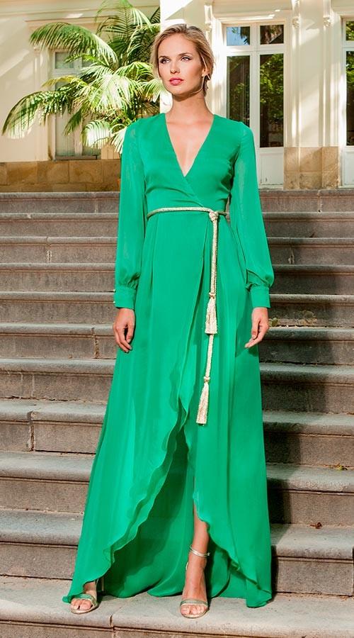 Vestido Largo Verde Manga Larga
