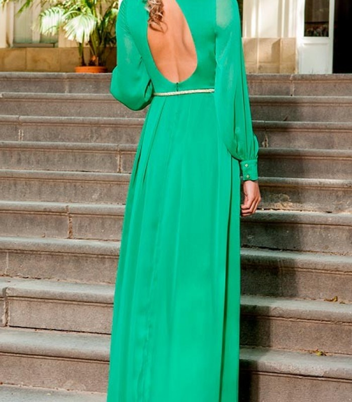 Vestido largo Olimara verde manga larga