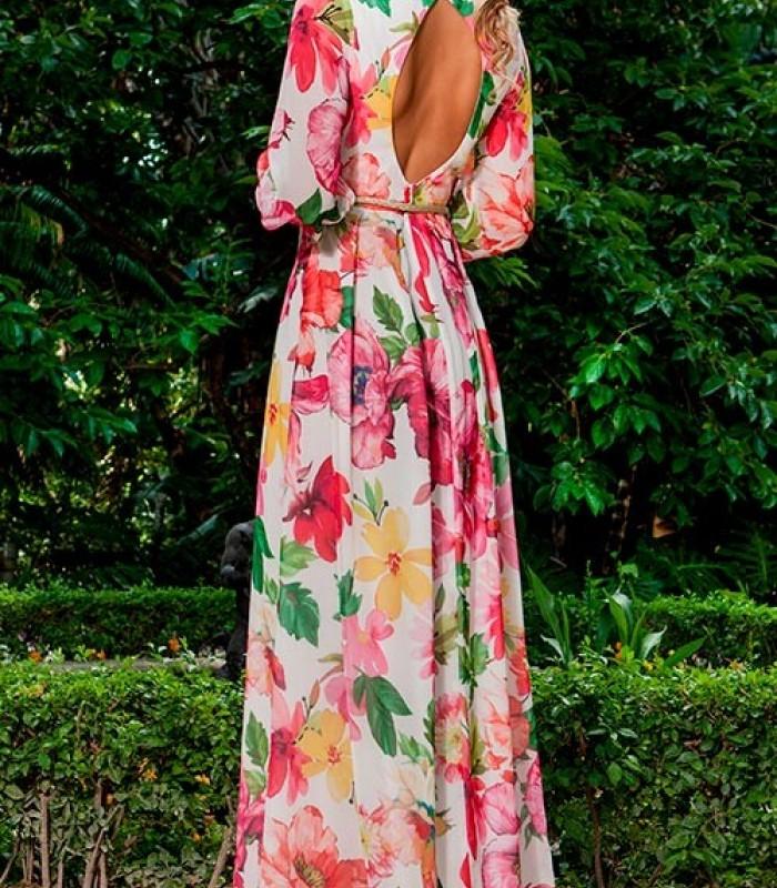 Print maxi Olimara dress and white background
