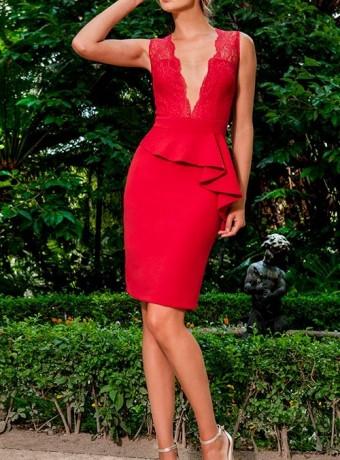 Vestido Olimara rojo con escote