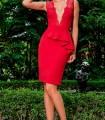 Red Olimara dress with neckline