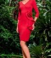 Vestido Olimara rojo corto manga larga