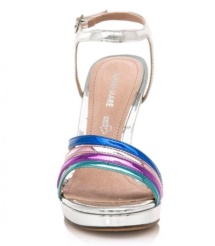 Sandalias de tacón plateadas con rejillas multicolor
