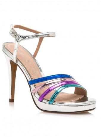 Multicolored strappy heel sandals in silver