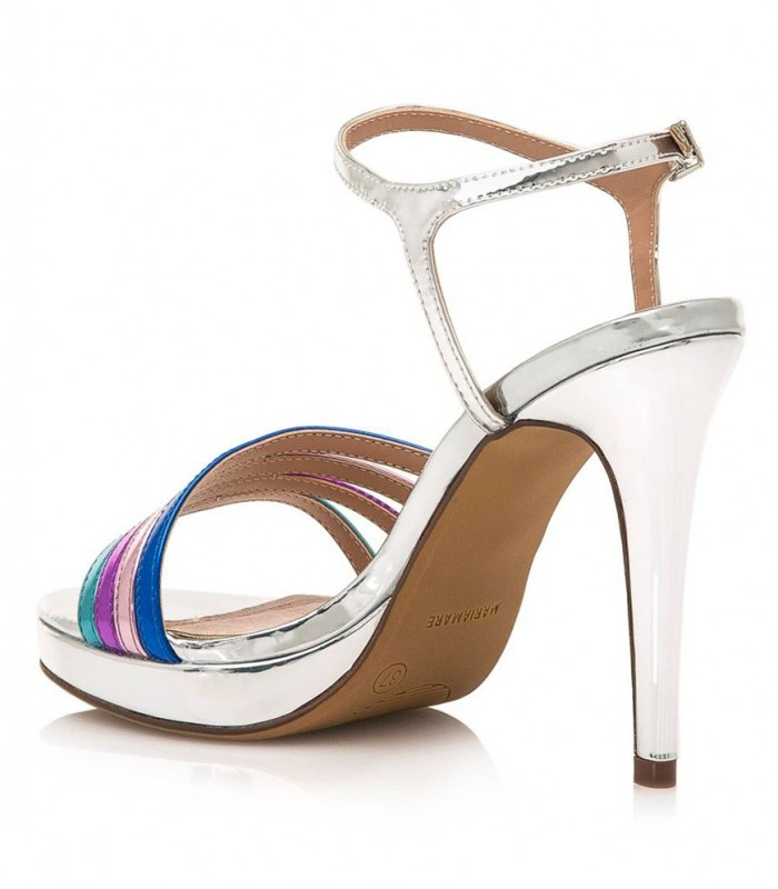Multicolored strappy heel sandals in silver