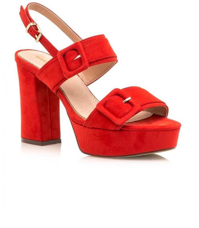 Sandalia roja de Tacón De Bloque