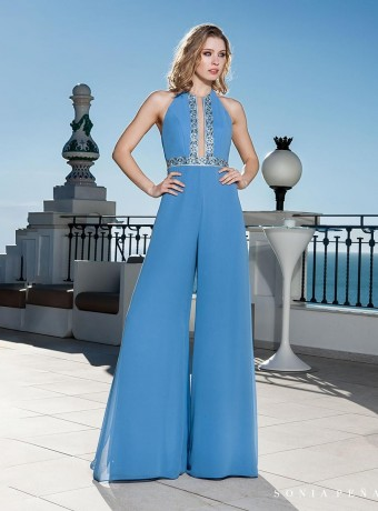 Open neckline jumpsuit in light blue