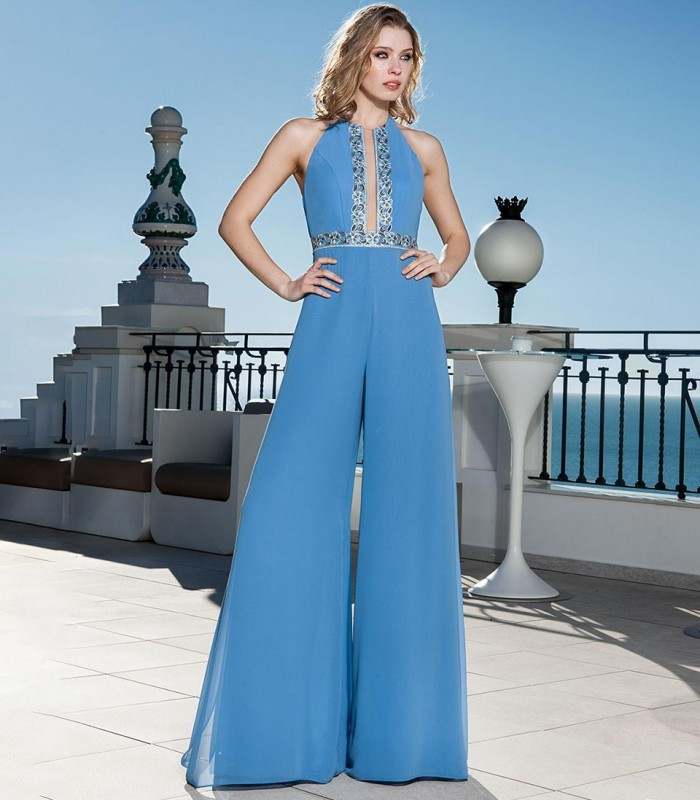 Open neckline jumpsuit in light blue