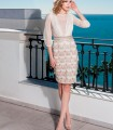 French sleeves midi dress and fringed skirt