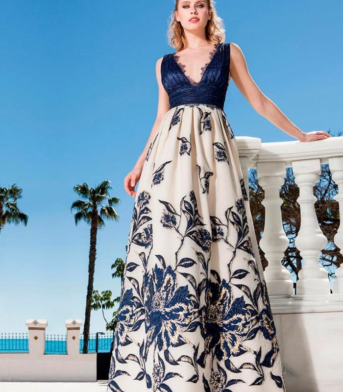 Vestido largo top marino y falda estampada