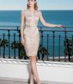 Short lace dress in beige