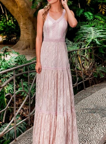 Olimara pink lace maxi dress