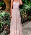 Vestido largo rosa de encaje Olimara