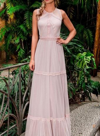 Pink plumeti long dress with ruffles Olimara