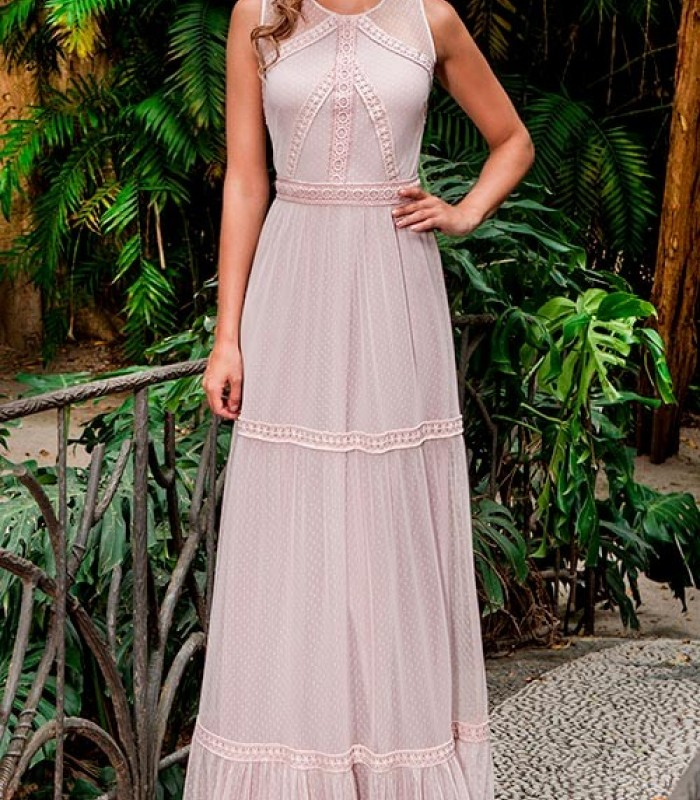 vestido largo rosa plumeti  con volantes Olimara