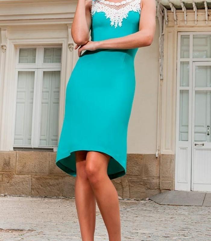 Rosé aqua green straight dress