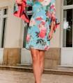 Olimara Ruffle Sleeve Printed Dress