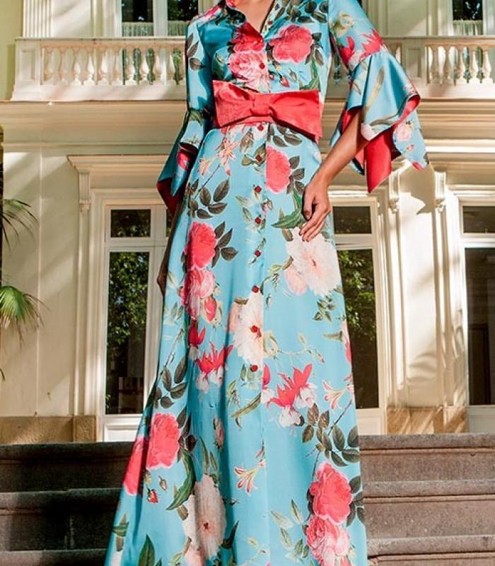 Vestido estampado camisero manga francesa Olimara