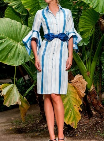 Olimara blue striped dress with french sleeve