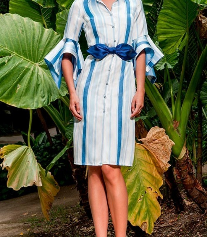 Olimara blue striped dress with french sleeve