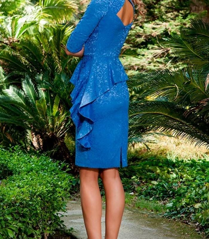 Vestido azul manga francesa y volante en la falda