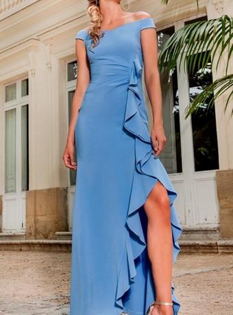 Olimara Asymmetric Ruffled Dress