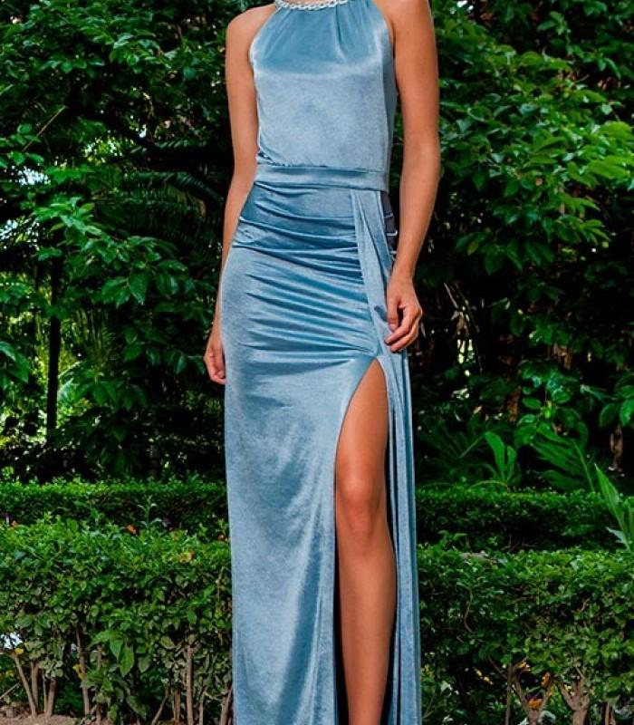 Light blue velvet dress embroidered on the neck