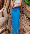 Light blue skirt with side slit