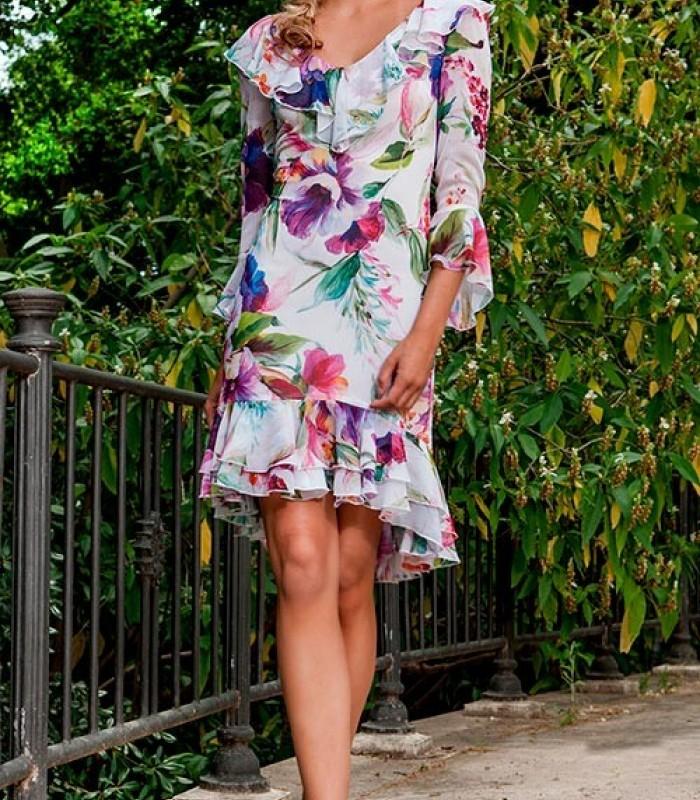 Olimara print ruffle dress