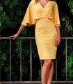 Yellow short dress with fine polka dots