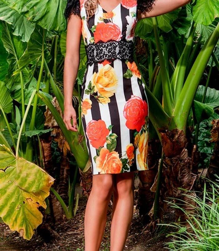 Vestido de rayas y flores Olimara