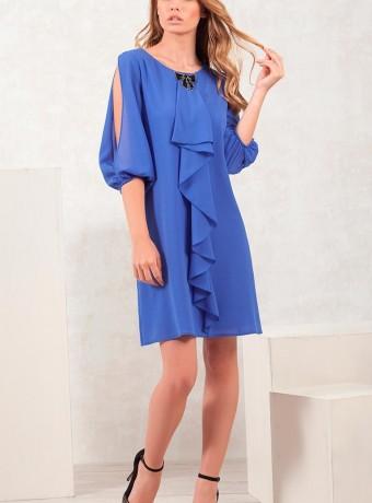 vestido azul con mangas semiabiertas