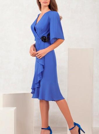 Vestido corto azul fruncido en la cintura