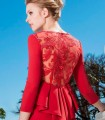 Red dress with lace and ruffle peplum