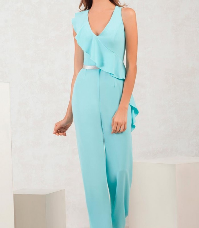 Long jumpsuit with asymmetric ruffle