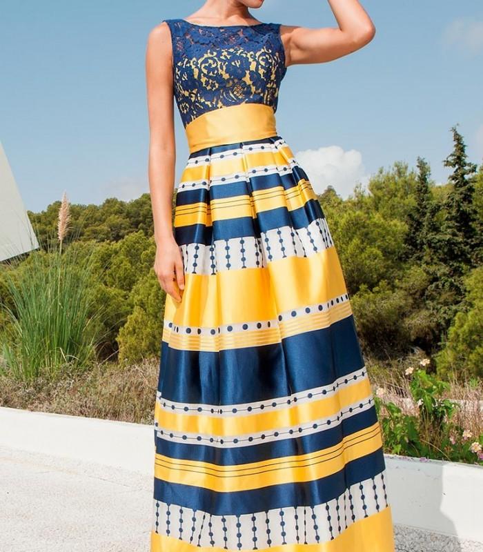Vestido de rayas azul y amarillo