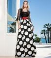 Conjunto top negro y falda de lunares