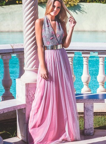 Vestido tull rosa espalda descubierta