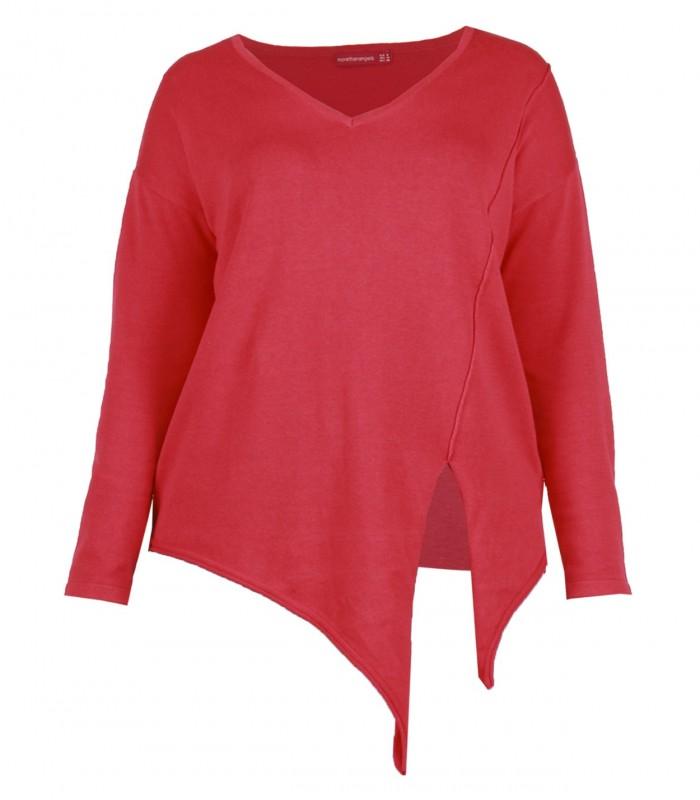 Jersey rojo cuello pico con nudo delantero
