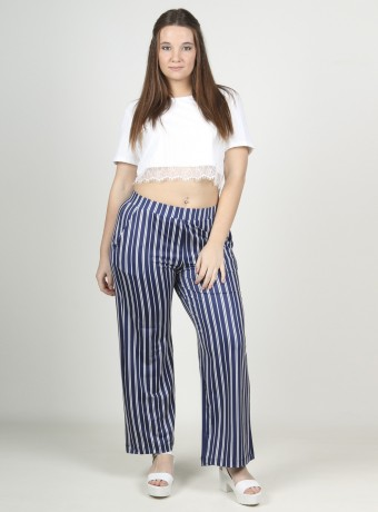Wide blue and white striped pants