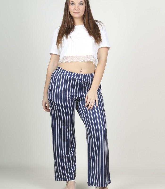 Pantalón ancho de rayas azul y blanco