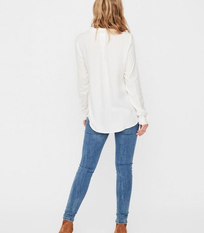 Blusa blanca manga larga de botones