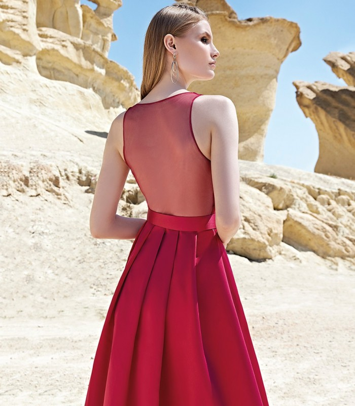 Long dress with crossover neckline